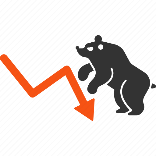 bear, chart, crisis, down, negative trend, recession, stock market icon
