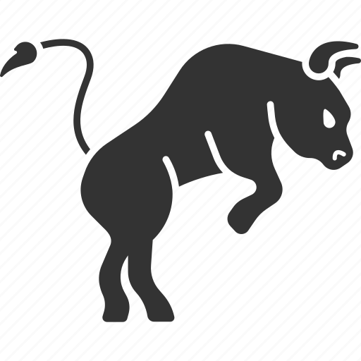bull, cow, growth, positive trend, stock market, trader icon