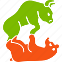 bear, bull, struggle, stock market, traders, business, fund icon