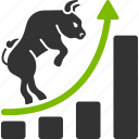 bull trend, chart, growth, positive, sales up, stock market, trade icon