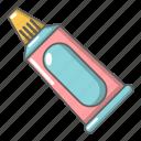 care, cartoon, dental, health, object, toothpaste, tube