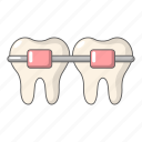 brace, braces, cartoon, dental, medical, object, tooth icon