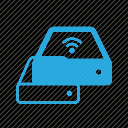 drive, storage, system, wireless icon