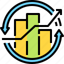 bar, business, chart, growth, hand, profit, statistics icon
