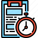 clipboard, clock, file, paper, stopwatch, time icon