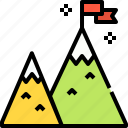 achievement, business, flag, goal, mission, mountain icon