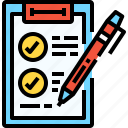 document, education, file, list, pen, plan, test icon