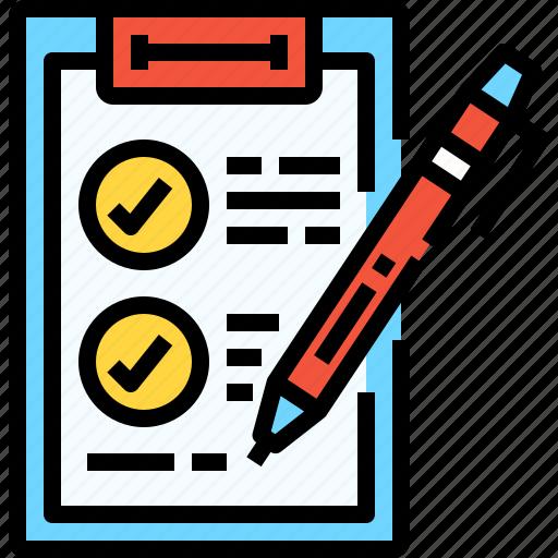 document, education, file, list, pen, plan, test icon