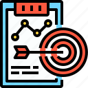 business, chart, file, strategy, success, target icon