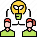 brainstorm, business, idea, strategy, team, user icon