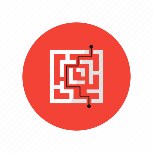 finding solution, labyrinth, solve, strategy icon