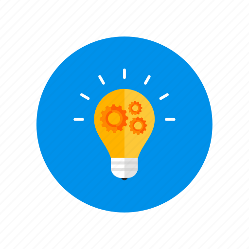 bulb lamp, gears, idea, lamp, light, strategy icon