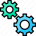 business, business plan, gears, marketing, strategy icon