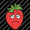 cartoon, emoji, face, smiley, strawberries, strawberry