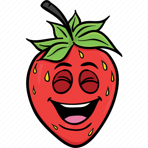 Cartoon, emoji, face, smiley, strawberries, strawberry icon