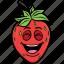 cartoon, emoji, face, smiley, strawberries, strawberry icon