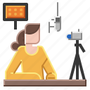 online, streamer, woman icon