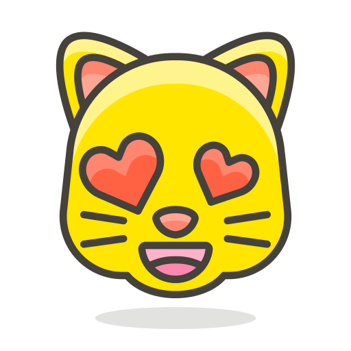 cat, eyes, face, heart, smiling, with icon