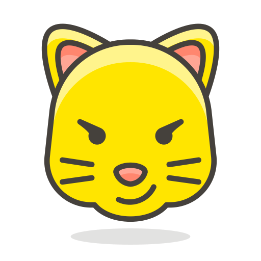 cat, face, smile, with, wry icon