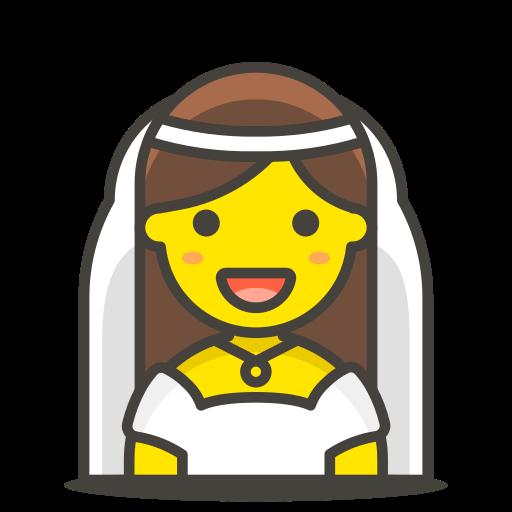 1, bride, veil, with icon