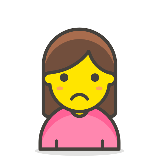 1, frowning, woman icon