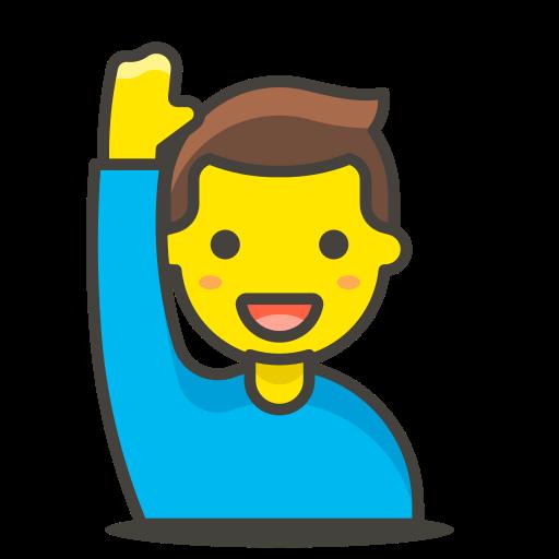 1, hand, man, raising icon