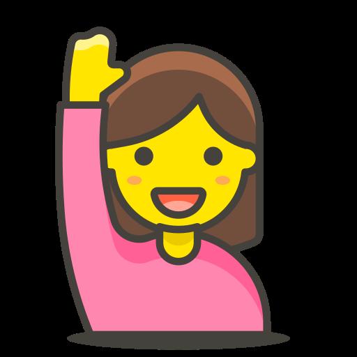 1, hand, raising, woman icon
