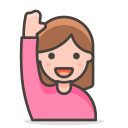 2, woman, raising, hand icon