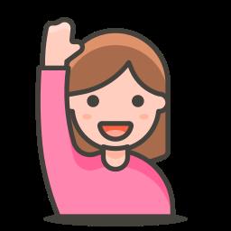 2, hand, raising, woman icon