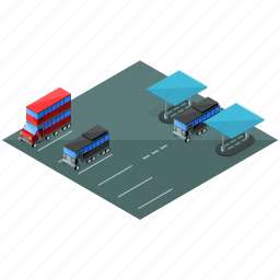 bus, elements, lot, parking, street, vehicle icon