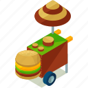 food, street, hamburger, stand, elements