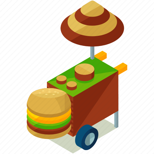 elements, food, hamburger, stand, street icon
