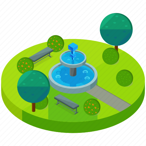 bench, elements, fountain, park, street, tree icon