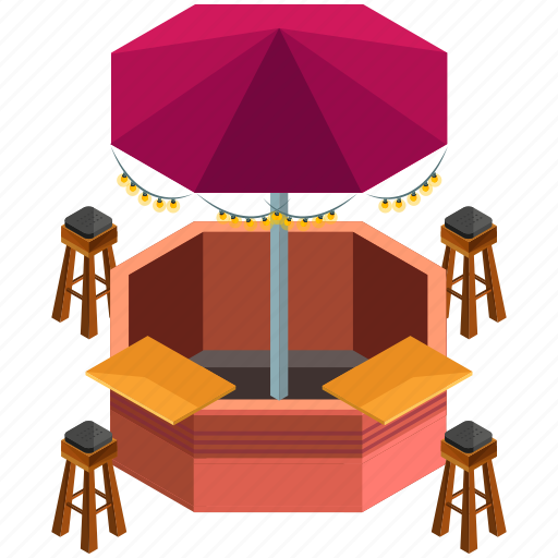 elements, parasol, rounded, stool, street, terrace icon