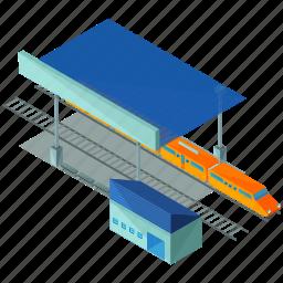 elements, railway, station, street, train icon
