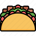 taco, sandwich, salad, mexican, food, traditional
