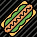hotdog, sandwich, ketchup, mustard, food, junk, sausage