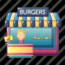 burger, burgers, business, cartoon, food, hamburger, shop icon