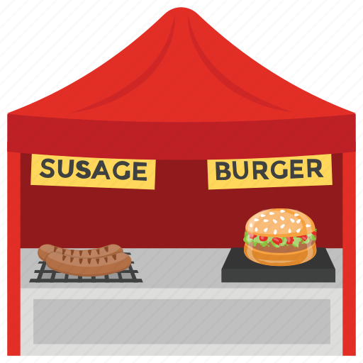 burger point fast food food booth food stall street shop icon