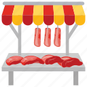 butcher shop, food booth, meat stall, steaks shop, street stall icon