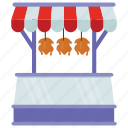 butcher shop, food booth, meat shop, poultry stall, street stall icon