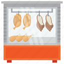 butcher shop, chicken stall, food booth, meat shop, street stall icon
