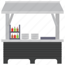 food kiosk, food point, food stall, street stall, vendor food icon