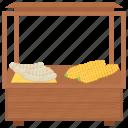 corn kiosk, corn selling, corn stall, street food, street stall icon