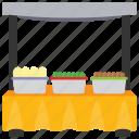 food booth, food cart, street food, street stall, vendor food icon