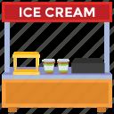 dessert stall, ice cream stall, street food, street kiosk, vendor food icon