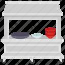household shop, market stall, pots shop, street kiosk, street stall icon