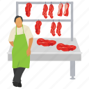 butcher shop, meat stall, raw meat, steak shop, street stall icon
