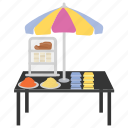 cereal stall, food stall, markeshop, street stall, vendor food icon