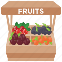 fruit kiosk, fruit seller, fruit shop, fruit stall, street stall icon